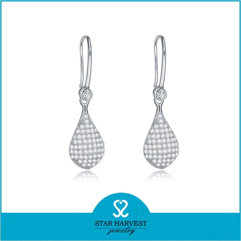 High Quality Micropave White Stone Drop 925 Sterling Silver Earring Hook