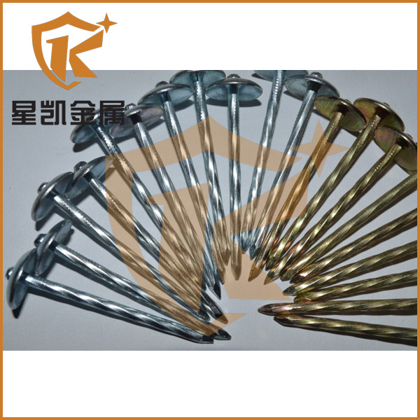 gold china supplier smooth and screw shank hot sale roofing nails