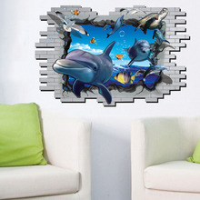 Removable 3d dolphin decorative decals for furniture