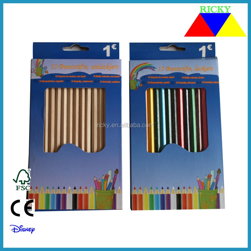 15 pcs full length color pencil packed in color pencil for one dollar shop or one Euro shop