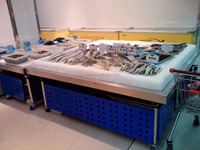 APEX custom make commercial supermarket restaurant stainless steel fresh frozen food/fish/seafood display table