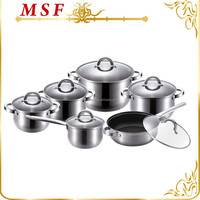 Super 12pcs stainless steel cookware set capsuled induction bottom etching water marek in pots