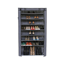 PN 10 Tiers Shoe Rack with Dustproof Cover Closet Shoe Storage Cabinet Organizer Grey Non-woven Waterproof Shoe Rack