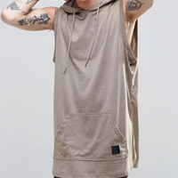 Drop Armhole Hood Drawstring Kangaroo Pocket