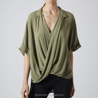 fashion v neck chiffon shirt high low hem women's loose blouse
