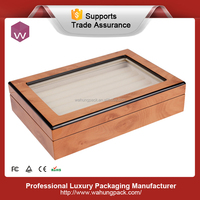 Antique wooden rings/cufflinks display box&top glass box for jewelry/cufflink (WH-S-052)
