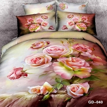 Pink Roses Oil Painting 3D Bedding Set