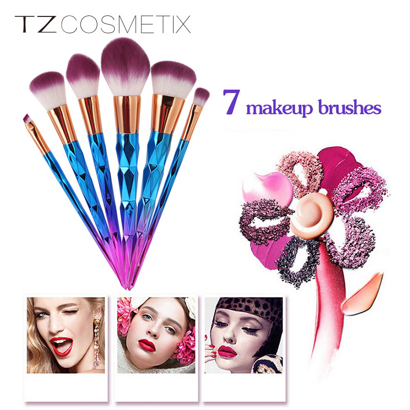 TZ cosmetics 7pcs/set Rainbow Hair Diamond Cosmetic Makeup Brushes Set