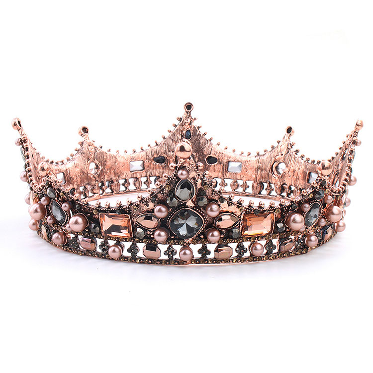 Festival Pearl Alloy Hairpiece Wedding Tiara Queen Crystal <strong>Crown</strong>