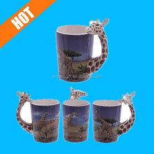 Cute Printed Mug with Giraffe Head Handle Ceramic Giraffe Head Handle Mug
