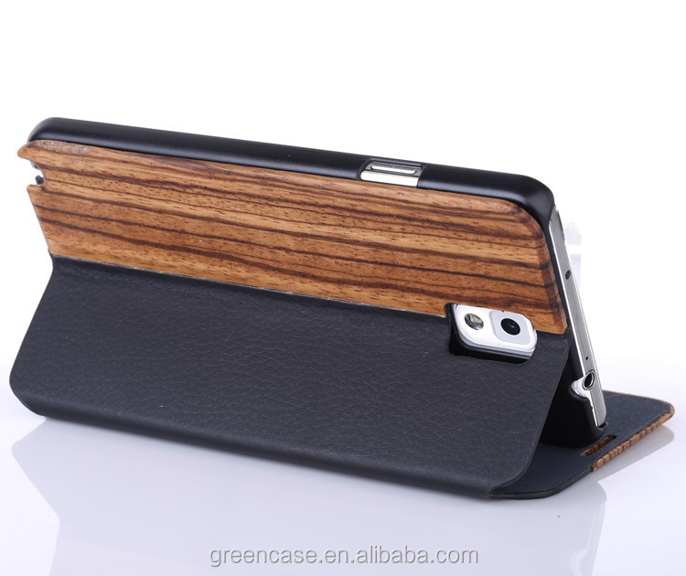 Natural Wood+Leather Handmade Mobile Phone case for Samsumg Note 3