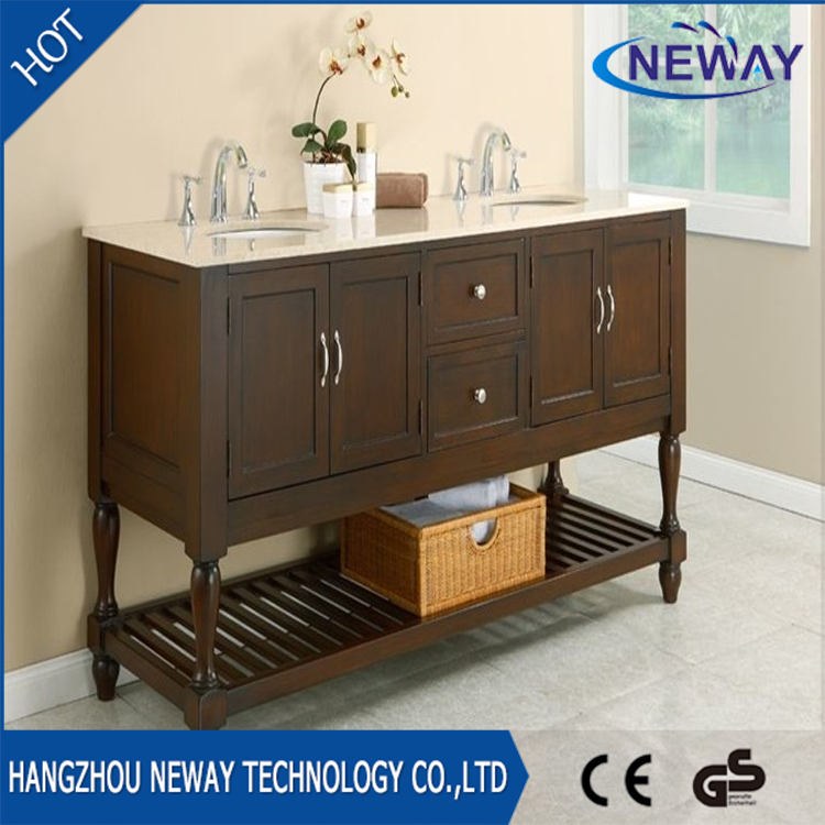 Wholesale wood free standing double bath vanity with top