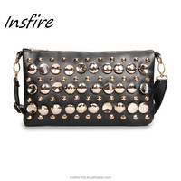 Manufactures in China female handbags with button shoulder messenger bags for woman