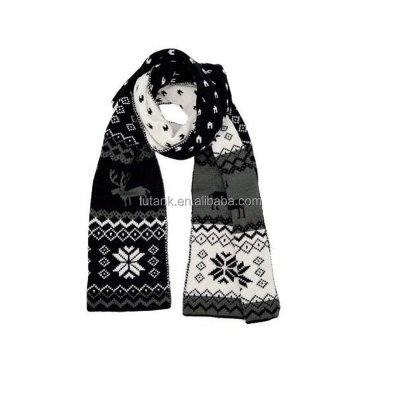 Women/men Winter Warm Reindeer Christmas Reversible Scarf