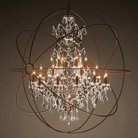 North European Style Big Orb Industrial Cage Crystal Chandelier Large Hanging Light Pendant Lighting Fixtures CZ2518/25