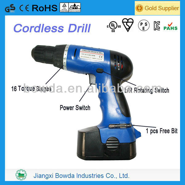 Cordless Drill With Free Bit