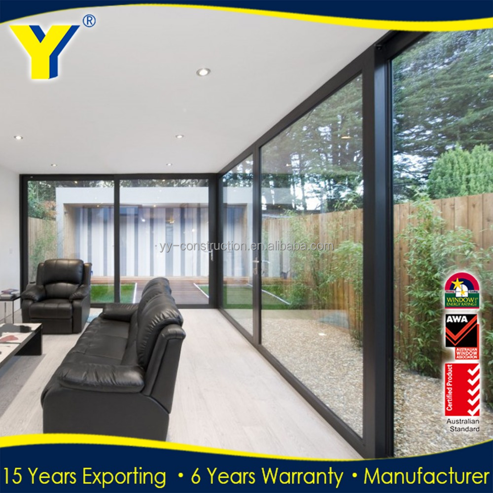 YY Manufacturer thermal break exiterior 4 panel double glass soundproof aluminum sliding door price