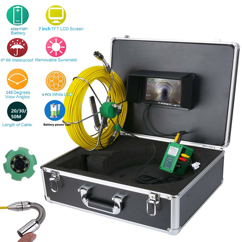 Pipe Inspection Video <strong>Camera</strong> 20/30/50M IP68 Waterproof Drain Pipe Sewer Inspection <strong>Camera</strong> System 7&quot;LCD 1000 TVL <strong>Camera</strong> with 6W L