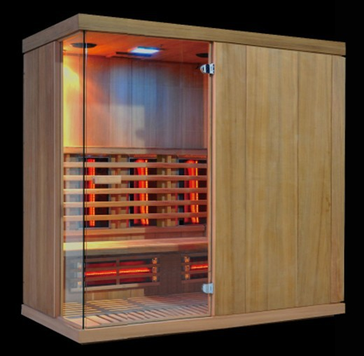 6 person full spectrum red glass heating infrared sauna cabin for Spa (CE/RoHS/TUV)