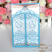 Light blue Laser cut wedding invitation cards models