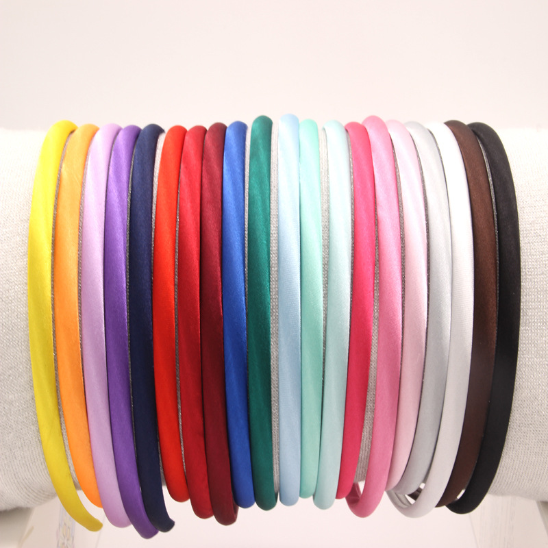 1cm width plastic headband with satin fabric <strong>hair</strong> <strong>accessories</strong>