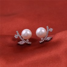 crystal beads flower stud wedding princess cz earrings wholesale