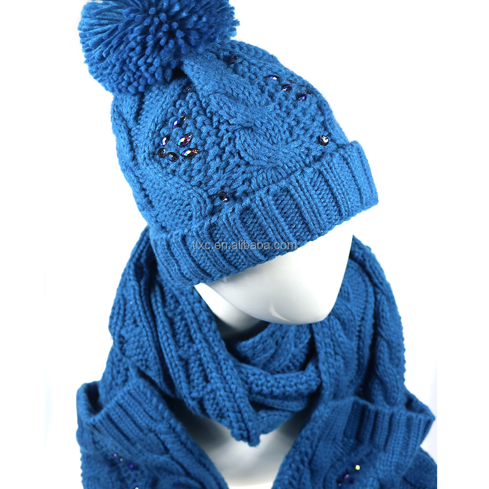 2017 winter lady bule color knitted scarf and hat set with decorations