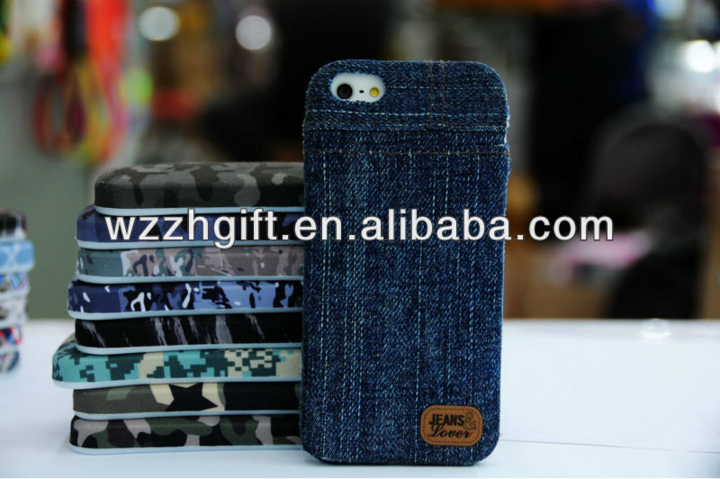 Hotsell Jeans Plastic Fabric Phone Case for IPhone 5