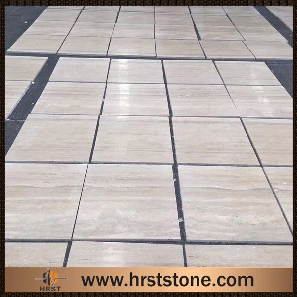 White travertine floor tile