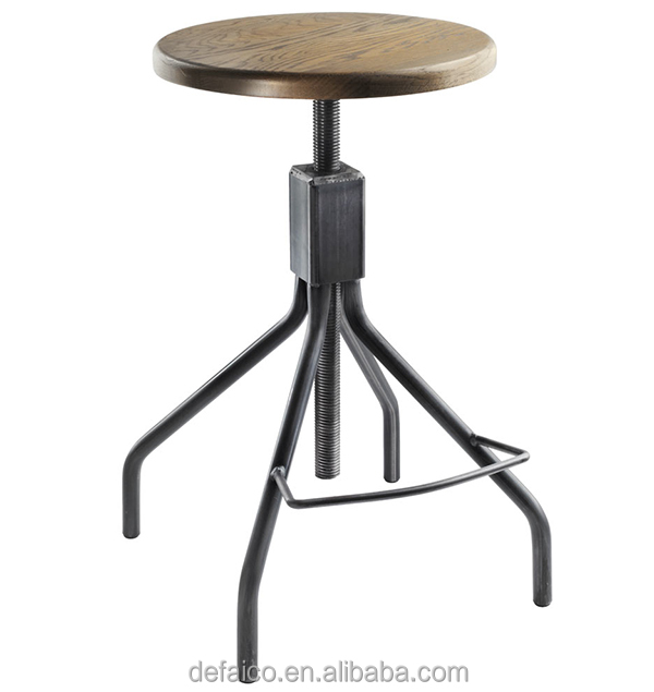 Loft Industrial Adjustable Counter Iron Base Bar Stool