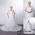 2016 Ball Gown Soft Tulle wedding dress with Embroidered Lace Sequins Beads Crystals Boat Neck 3/4 bridal gown wedding gown