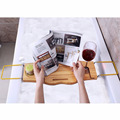 Bamboo bathroom accessory Bamboo Adjustable bathtub storage caddy with Waterproof Cloth Book holder