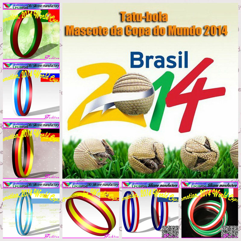 Come on !!! Promotion 2014 World Cup:Argentina national flag silicone bracelet(LFGB/FDA)