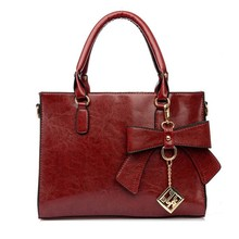 Ladies vintage leather bag branded bags handbag women bowknot tote shoulder bag