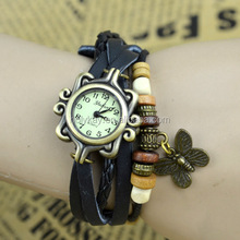 2014 hot sale butterly charms Weave genuine leather vogue watch