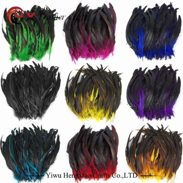Hot sale rooster feathers dyed colourful Coque Tails Feather long grizzly rooster feathers for sale