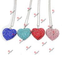 Colorful Alloy Heart Pendant Jewelry with Rhinestone for Necklace (HRN60103)
