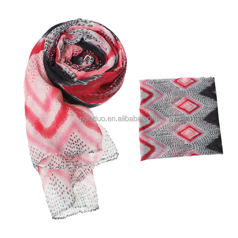 Women's Fashion Voile Scarf Long colorful Stripe rhombic Spot Pattern Print scarves