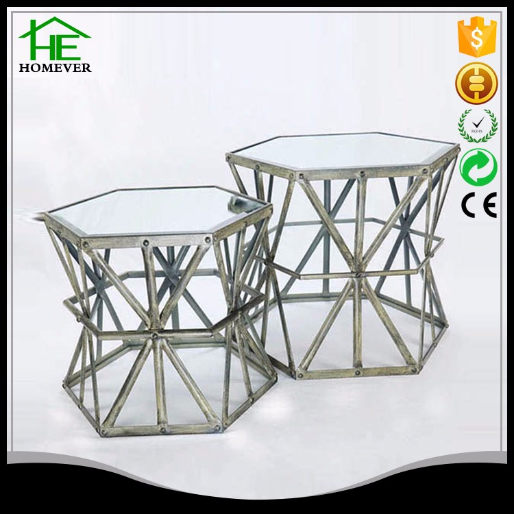 glass centre living room iron coffe table modern