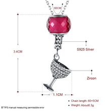 NL071 JN Online shop china 925 sterling silver necklace wine winebowl Pendants necklace charm for necklace women