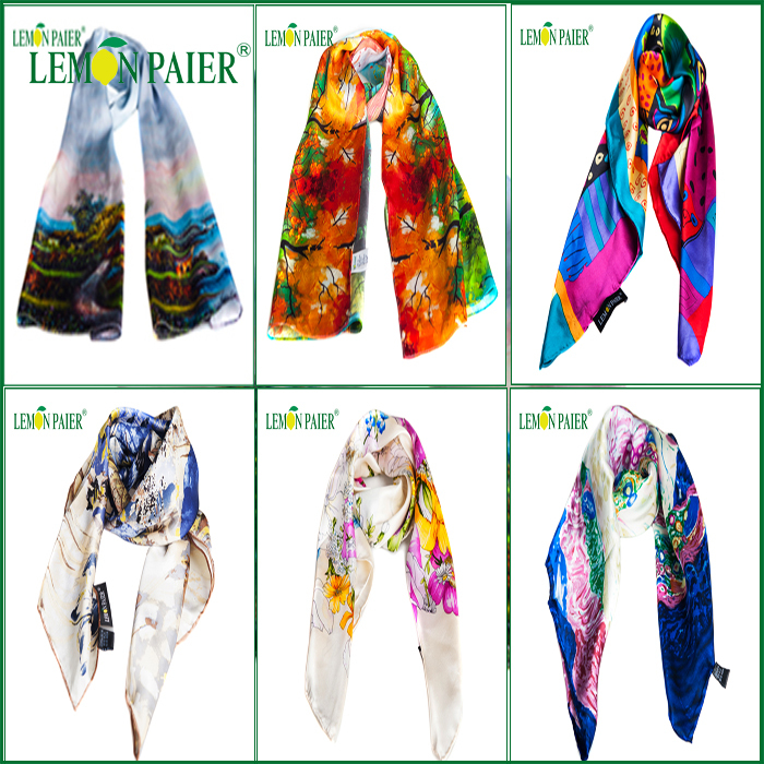 Hand Made Scarf Woman Multicolor Long 100% Silk Fashion Scarf