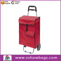Good quality cheap shopping trolley bag with seat promotion 600D polyester shopping trolley bag with chair