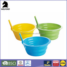 Bsci Certification Reusable Drinking Straw Plastic Bowl With Straw