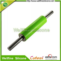 Non-stick silicone rolling pin with stainless steel handle