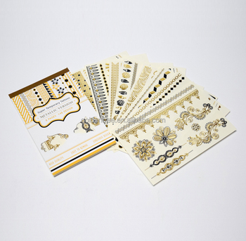 Gold foil metallic Cosmetic grade temporary body tattoos sticker by Disney and NBCU audited factory