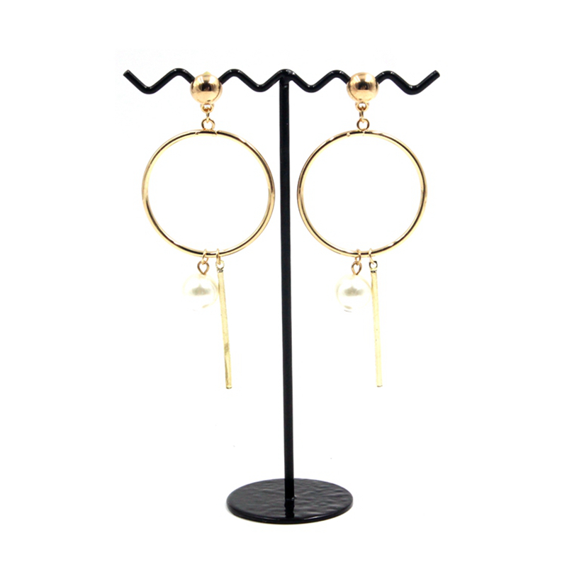 Artificial Jewellery Gold Bead Stud Pearl Hoop Earrings