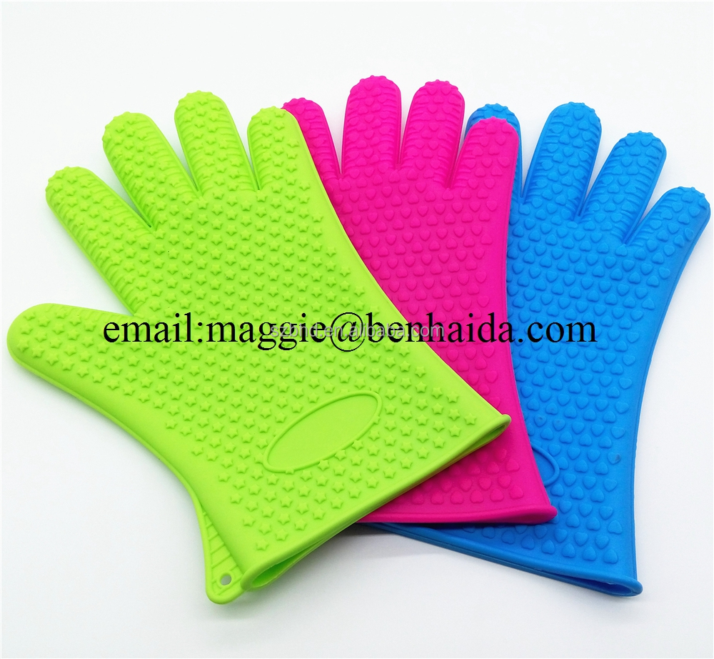 Waterproof Heat Resistant Silicone BBQ gloves,FDA silicone cooking gloves,Silicone oven Glove