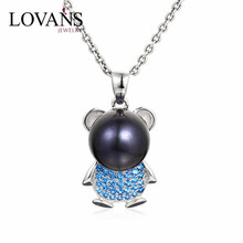 925 Sterling Silver Nature Crystal Pearl Bear Pendant SPG725W