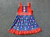 Bulk Wholesale Kids July 4th Blue & Red Stars Clothing Baby Girl Summer Patriotic Party Dresses