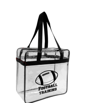 Pocket In Front Clear plastic 12 x 12 x 6 NFL Stadium Approved Tote Bag with Black Handles
